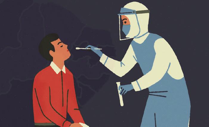 ilustração de médico testando paciente e fundo com mapa do nordeste